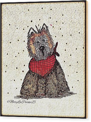 Lola The Dog Wood Print by MaryLee Parker