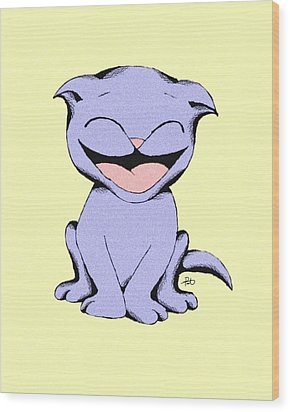 Lolly Cat Laughing Wood Print by Pet Serrano