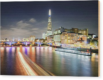 London At Night With Urban Architecture, Amazing Skyscraper And Boat At Thames River, United Kingdom Wood Print