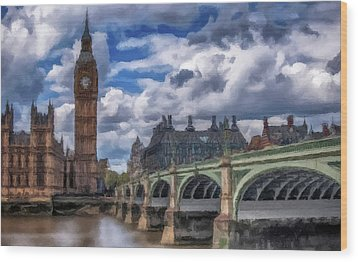 Wood Print featuring the painting London Big Ben by David Dehner