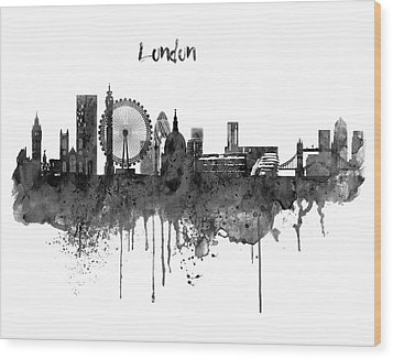 London Black And White Skyline Watercolor Wood Print by Marian Voicu