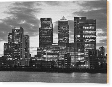 London Canary Wharf Monochrome Wood Print