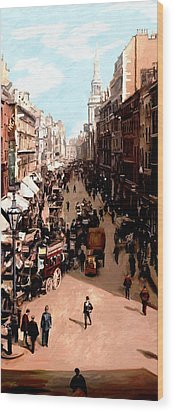 Wood Print featuring the painting London Cheapside by James Shepherd
