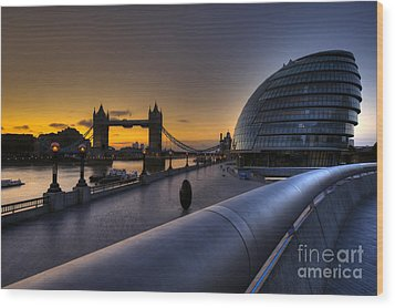 London City Hall Sunrise Wood Print by Donald Davis