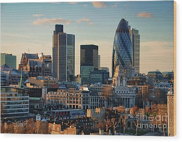 Wood Print featuring the photograph London City Of Contrasts by Lois Bryan