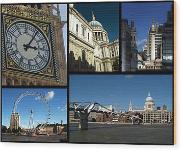 London Collage Wood Print