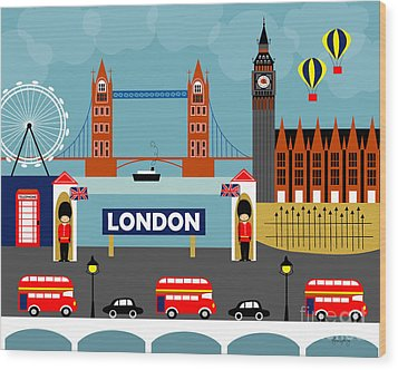 London England Horizontal Scene - Collage Wood Print by Karen Young