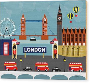 London England Horizontal Scene - Collage Wood Print