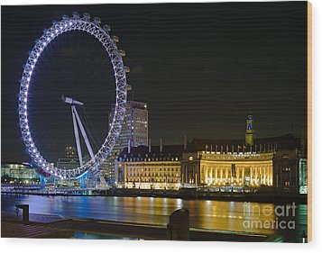 London Eye At Night Wood Print by Clarence Holmes