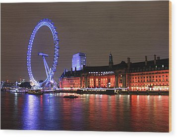 London Eye By Night Wood Print by RKAB Works