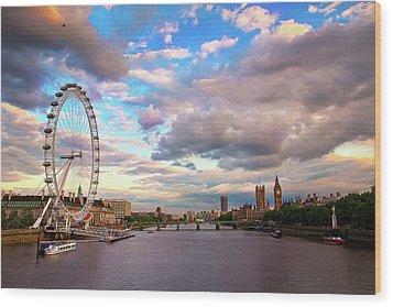 London Eye Evening Wood Print by Kapuk Dodds