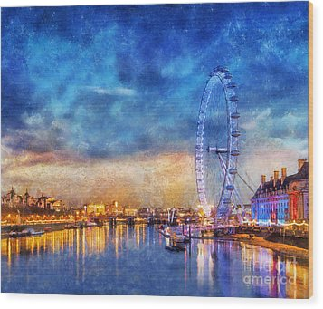 Wood Print featuring the photograph London Eye by Ian Mitchell