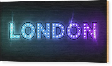 London In Lights Wood Print by Michael Tompsett