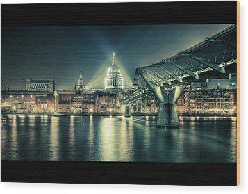 London Landmarks By Night Wood Print by Araminta Studio - Didier Kobi