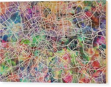 London Map Art Watercolor Wood Print