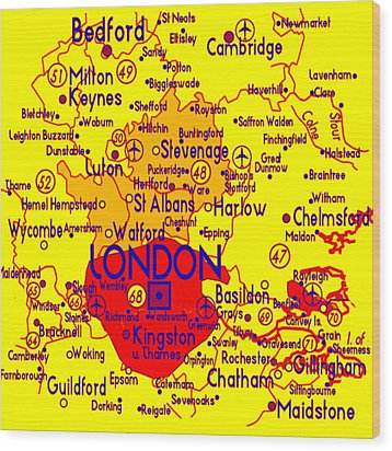 Wood Print featuring the drawing London Map Mock-up by Digital Art Cafe