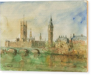 London Parliament Wood Print by Juan  Bosco