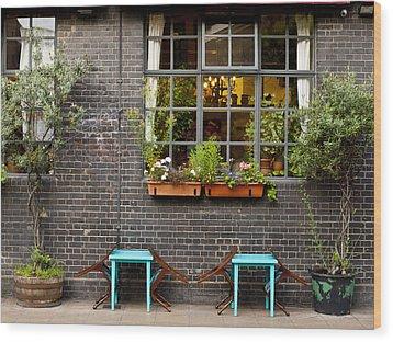 London Patio Wood Print by Rae Tucker