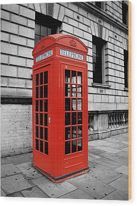 London Phone Booth Wood Print by Rhianna Wurman