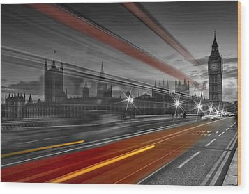 London Red Bus Wood Print by Melanie Viola
