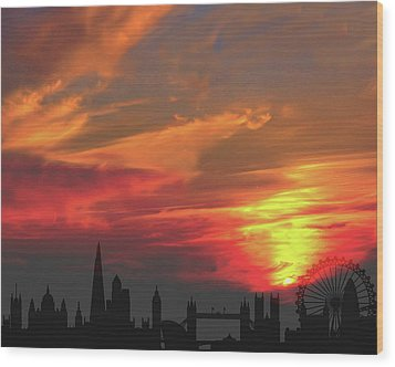 Sunset London Wood Print