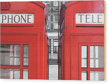 London Telephones Wood Print by Richard Newstead