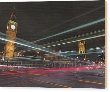 London Traffic Wood Print by Mark A Paulda