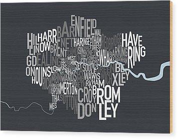 London Uk Text Map Wood Print by Michael Tompsett