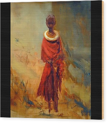 Lone African Girl Wood Print
