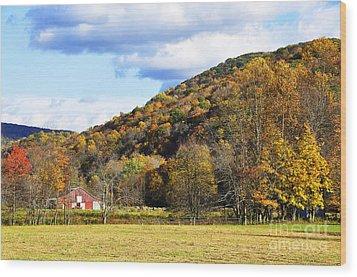 Lone Barn Fall Color Wood Print by Thomas R Fletcher