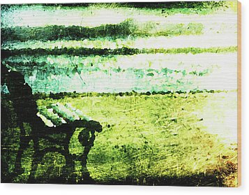 Lone Bench Wood Print by Andrea Barbieri
