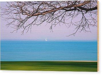 Lone Boat Wood Print