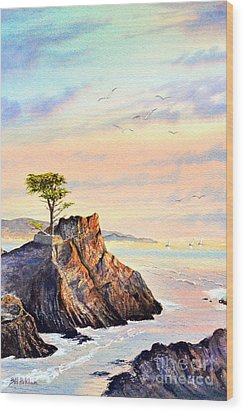 Lone Cypress Tree Pebble Beach Wood Print