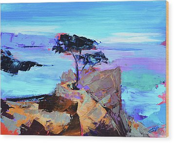 Wood Print featuring the painting Lone Cypress by Elise Palmigiani