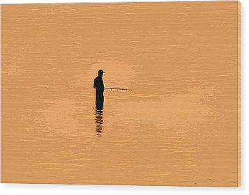 Lone Fisherman Wood Print by David Lee Thompson