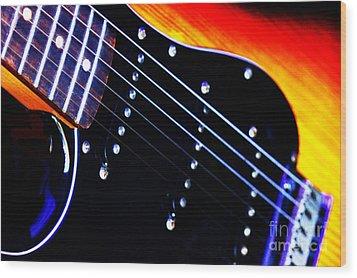 Lone Guitar Wood Print by Stephen Melia