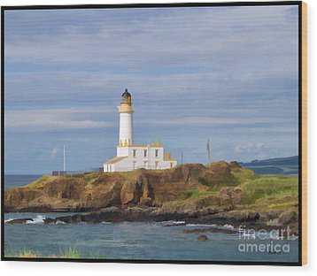 Wood Print featuring the photograph Lone Lighthouse In Scotland by Roberta Byram