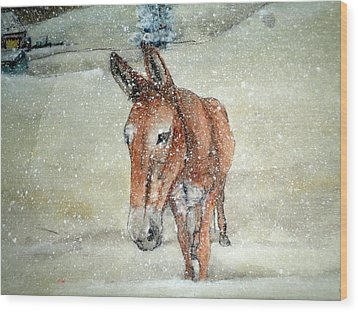 Wood Print featuring the painting Lone Mule by Debbi Saccomanno Chan