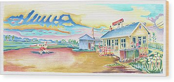 Lone Rock Airport Wood Print by Linda Kelen