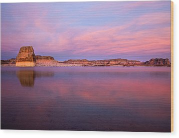 Lone Rock Sunset Wood Print by Mike  Dawson
