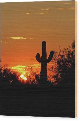 Lone Saguaro Sunrise Wood Print