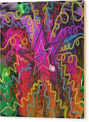 Wood Print featuring the painting Lone Star by Kevin Caudill
