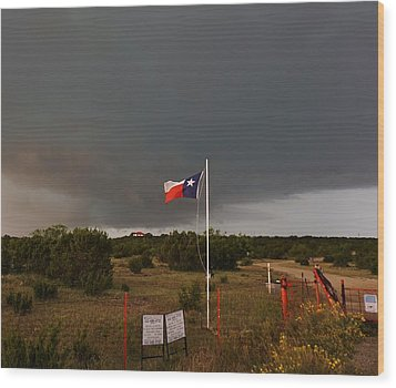 Lone Star Supercell Wood Print by Ed Sweeney