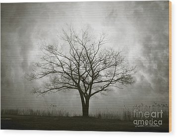 Lone Tree And Clouds Wood Print by Dave Gordon