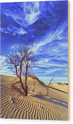 Lone Tree At Sandhills Wood Print