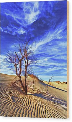 Lone Tree At Sandhills Wood Print by ABeautifulSky Photography