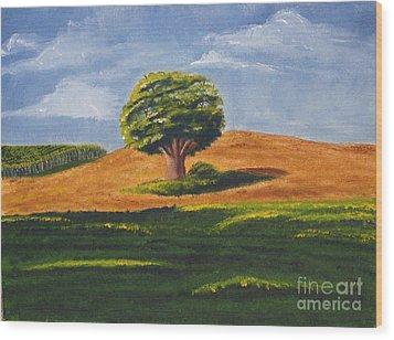 Lone Tree Wood Print by Mendy Pedersen