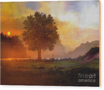 Lone Tree Wood Print by Robert Foster