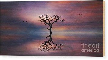 Wood Print featuring the digital art Lone Tree Sunrise by Ian Mitchell