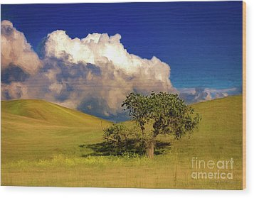 Lone Tree With Storm Clouds Wood Print by John A Rodriguez